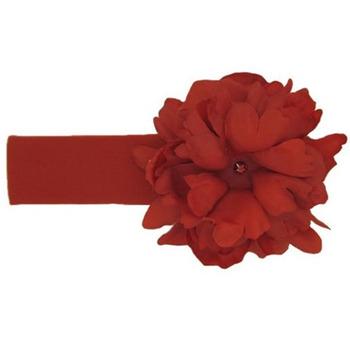美國Jamie Rae 100%純棉髮帶_嫣紅寬髮帶+經典嫣紅小牡丹 (JRHBP06)