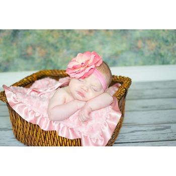 美國Jamie Rae 100%純棉髮帶_糖果粉細髮帶+糖果粉小玫瑰 (JRFBR01)