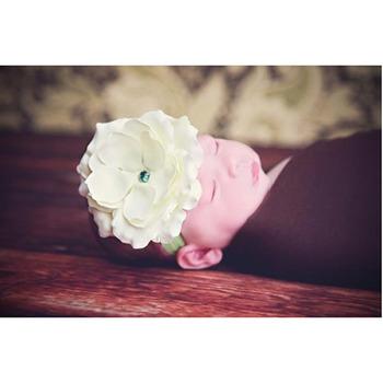 美國Jamie Rae 100%純棉髮帶_青草綠細髮帶+清新綠玫瑰 (JRFBR03)