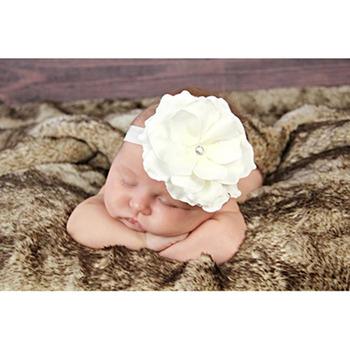 美國Jamie Rae 100%純棉髮帶_純白細髮帶+純白玫瑰 (JRFBR05)