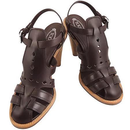 TODS 真皮壓紋羅馬高跟鞋(36號)(巧克力色)
