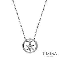 【TiMISA】迷你花漾指輪-晶鑚版 純鈦項鍊(E)