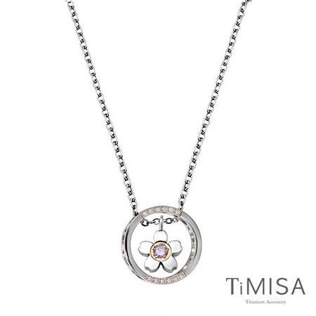 【TiMISA】迷你櫻花指輪 (三色) 純鈦項鍊(E)