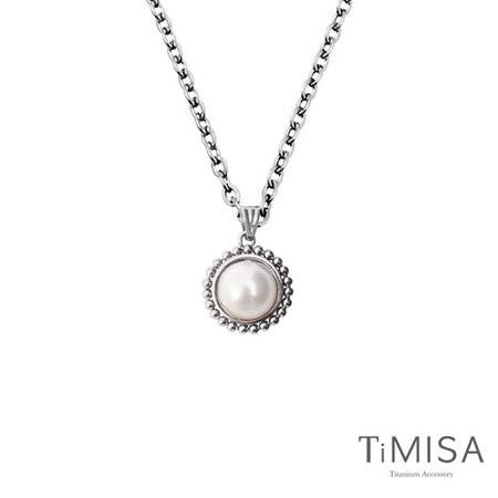 【TiMISA】珍心真意-白珍珠 純鈦項鍊(E)