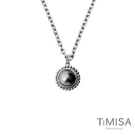【TiMISA】珍心真意-黑珍珠 純鈦項鍊(E)