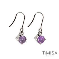 【TiMISA】純淨光芒-神秘紫 純鈦耳環一對