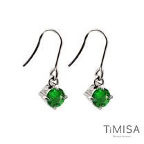 【TiMISA】純淨光芒-翡翠綠 純鈦耳環一對
