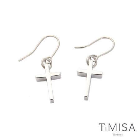 【TiMISA】迷你簡約十字 純鈦耳勾(一對)