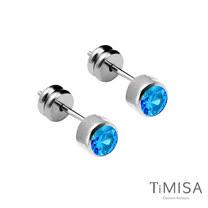 【TiMISA】極簡晶鑽-水藍 純鈦耳針一對