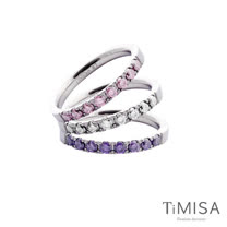 【TiMISA】蜜糖彩鑽(五色可選) 純鈦戒指三只