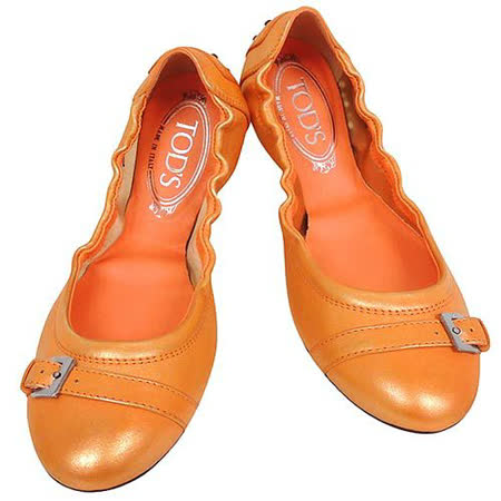 TODS 真皮豆豆弧形芭蕾舞鞋(37號)(粉橘色)