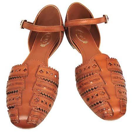 TODS 真皮壓紋羅馬涼鞋(37.5號)(咖啡色)