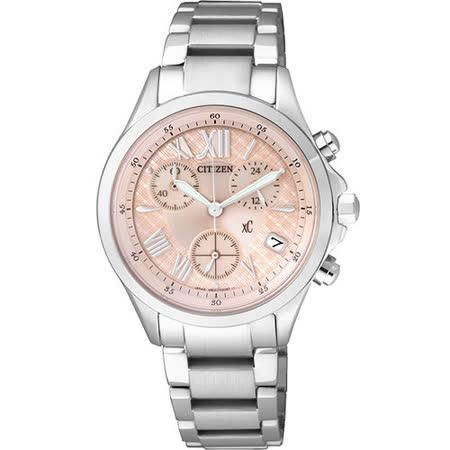 CITIZEN Eco-Drive 光動能 浪漫春意 三眼計時腕錶-粉橘 FB1400-51W