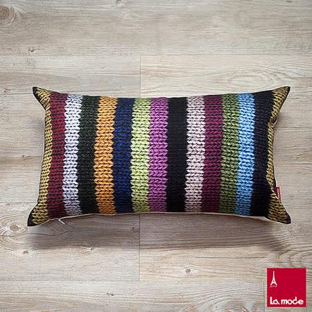 La Mode寢飾 彩色針織印花長靠墊套(含枕心)
