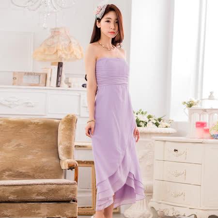【白色戀人中大尺碼】紫色平口荷葉擺雪紡小禮服