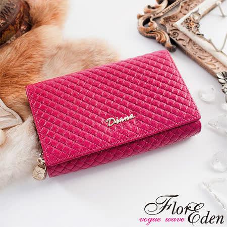 DF Flor Eden皮夾 - 時尚菱格紋真皮多卡夾二折式中夾-質感桃