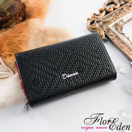 DF Flor Eden皮夾 - 時尚編織紋真皮多卡夾二折式中夾-經典黑