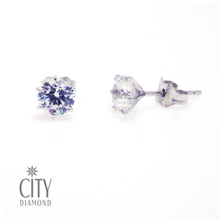 City Diamond『裸星』K金耳環(大)_男生款_ZE0207