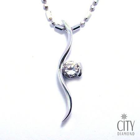 City Diamond『流線單鑽』K金項鍊