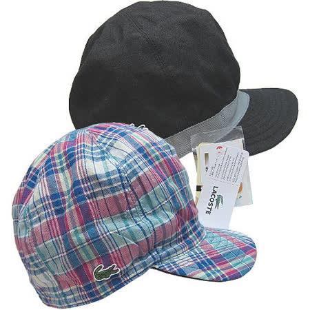 【波克貓哈日網】雙面UV棒球帽◇LACOSTE◇《經典黑+藍綠格紋》~日本製