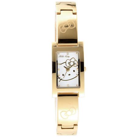 Hello Kitty 凱蒂貓 喜歡妳時尚腕錶-金