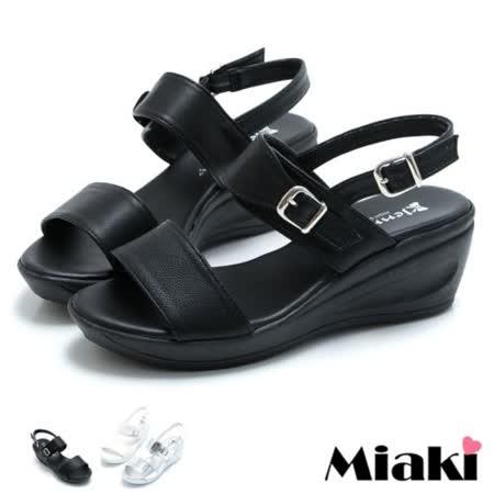 【Miaki】MIT 涼鞋坡跟夏季楔型寬帶涼拖 (黑色/白色/銀色)