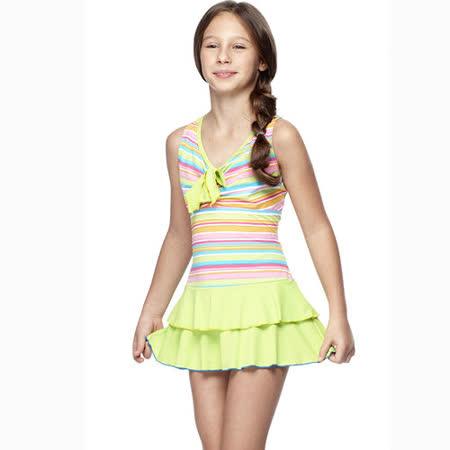 【SAIN SOU】少女連身裙泳裝附泳帽A88419