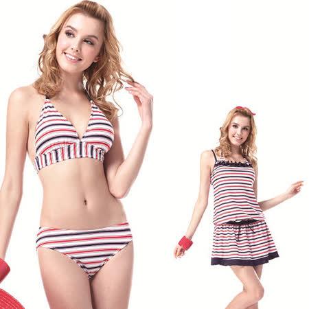 【SAIN SOU】大女比基尼三件式泳裝附泳帽A93319
