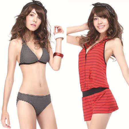 【SAIN SOU】大女比基尼三件式泳裝附泳帽A93408