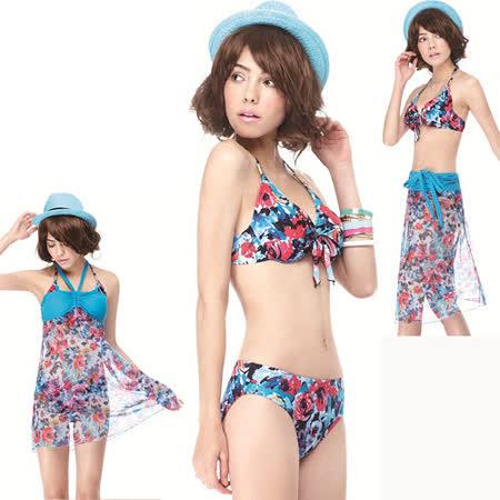 【SAIN SOU】大女比基尼三件式泳裝附泳帽A93410