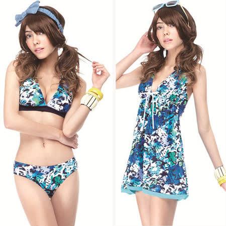 【SAIN SOU】大女比基尼三件式泳裝附泳帽A93413
