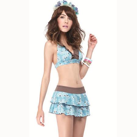 【SAIN SOU】大女比基尼三件式泳裝附泳帽A93417