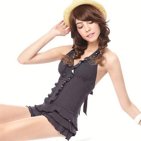 【SAIN SOU】大女連身裙泳裝附泳帽A98416-02