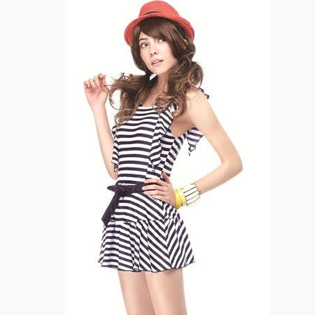 【SAIN SOU】大女連身裙泳裝附泳帽A98417