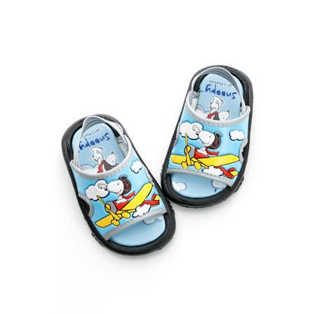 【Snoopy 史努比】  輕量舒適休閒拖鞋(16-18無後拉帶) 513176-水
