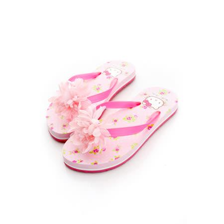 【Hello Kitty】  可愛花朵系列輕量休閒海灘拖鞋 813545-粉