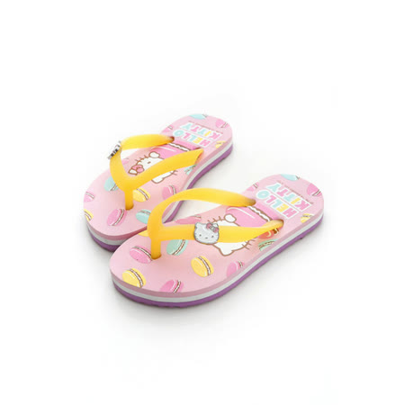 【Hello Kitty】  可愛馬卡龍系列極輕量休閒海灘拖鞋 814658-粉