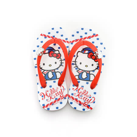 【Hello Kitty】  可愛海洋水手系列極輕量休閒海灘拖鞋 814660-白紅