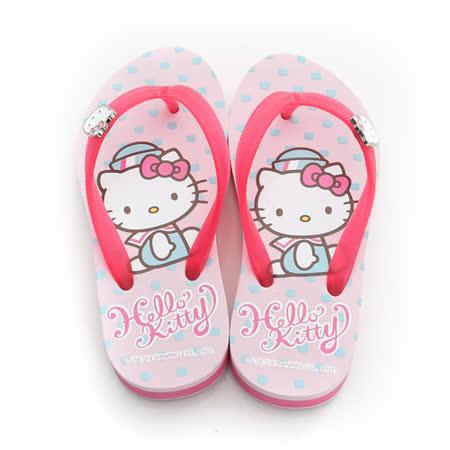 【Hello Kitty】  可愛海洋水手系列極輕量休閒海灘厚底拖鞋 814663-粉
