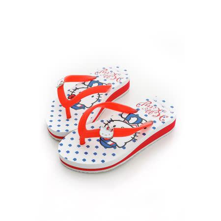 【Hello Kitty】  可愛海洋水手系列極輕量休閒海灘厚底拖鞋 814663-白紅