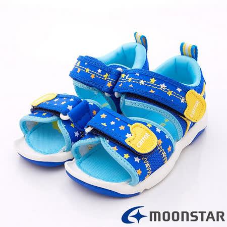 日本Carrot機能童鞋-閃耀星星涼鞋款-CRC20826藍(15cm-21cm)