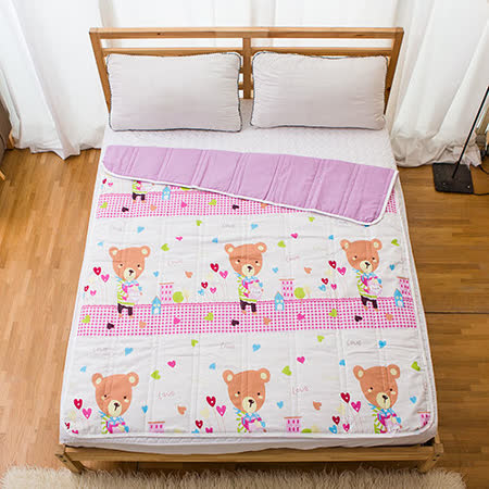 MIT台灣製【愜意小熊-粉】防蹣抗菌舖棉四季涼被/空調被(120x150cm)