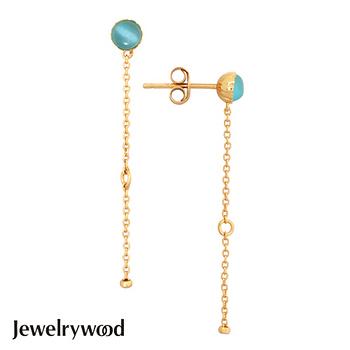 Jewelrywood 純銀拜占庭復古海藍寶耳環