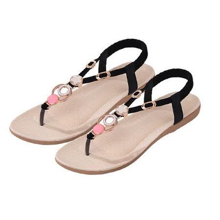 【Maya easy】S-法式浪漫扣環裝飾平底夾腳涼鞋/海灘鞋 (黑色)