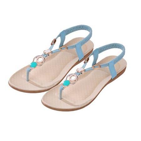 【Maya easy】S-法式浪漫扣環裝飾平底夾腳涼鞋/海灘鞋 (藍色)