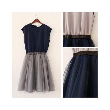 【韓系女衫】氣質路線風 收腰修身雙層蓬蓬紗連衣裙