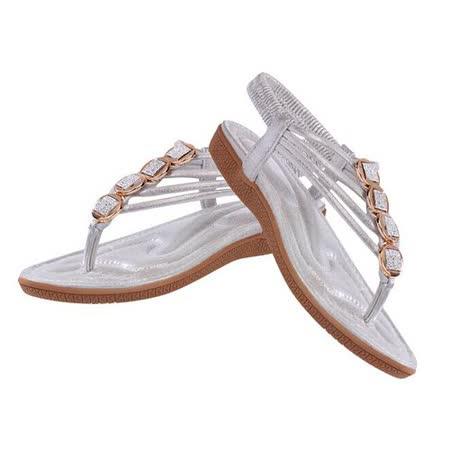 【Maya easy】S-異國風拼接寶石復古羅馬平底夾腳涼鞋/海灘鞋 (銀色)