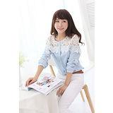 【韓系女衫】春夏甜美蕾絲雪紡長袖襯衫