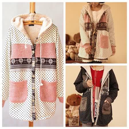 【Maya Collection】雪花點點拼接創意編織毛線羔羊絨連帽外套