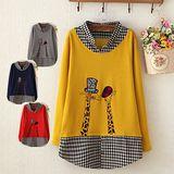 【Maya Collection】愛秀嬉皮長頸鹿拼接黑白小方格假兩件式長版上衣
